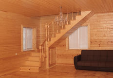 Wooden house interior - corner stairs and sofa Royalty Free Stock Images