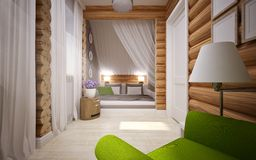 Wooden house interior Stock Photos