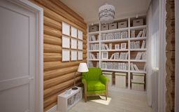 Wooden house interior Royalty Free Stock Photo