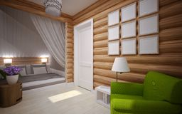 Wooden house interior Royalty Free Stock Image