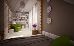 Wooden house interior Stock Photos