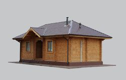 Wooden house on isolated background. Royalty Free Stock Photography