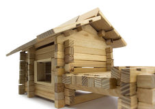 Wooden house. Isolated wooden toy house close view Stock Photos
