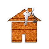 Wooden house with key Stock Photos