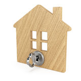 Wooden house with key Royalty Free Stock Photo