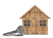Wooden house with keys Royalty Free Stock Image