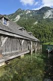 Wooden House on Konigssee Royalty Free Stock Photography