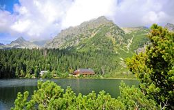 Wooden house at the lake. Natural summer mountain landscape in Tatras, Slovakia royalty free stock photography