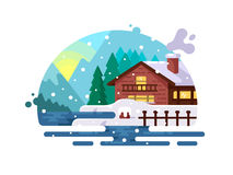 Wooden house on lake shore Royalty Free Stock Images