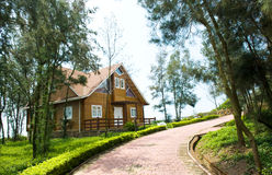 Wooden house beside lane Royalty Free Stock Image