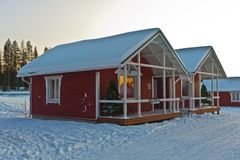Wooden house in Lapland Royalty Free Stock Photos