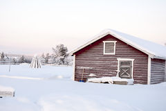 Wooden house in Lapland Royalty Free Stock Image