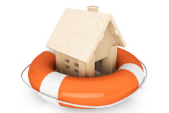 Wooden House with Life Buoy Royalty Free Stock Photos