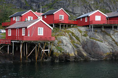 Wooden house at the Lofoten archipelago Stock Photography