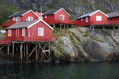 Wooden house at the Lofoten archipelago Stock Photography
