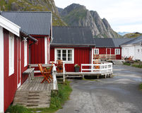 Wooden house at the Lofoten archipelago Royalty Free Stock Photography