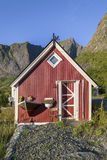 Wooden house at the Lofoten archipelago, Norway Royalty Free Stock Image