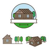 Wooden house logo Royalty Free Stock Photo
