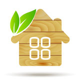 Wooden House Logo. Vector Eco House. Wood Royalty Free Stock Photo