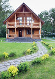Wooden House Made of Logs Near of Forest Stock Images