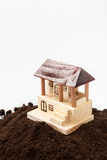 Wooden house model on the pile of soil Royalty Free Stock Images