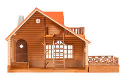 Wooden house. The model of the wooden house on a white background royalty free stock photography
