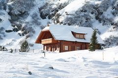 Wooden house in mountain Royalty Free Stock Images