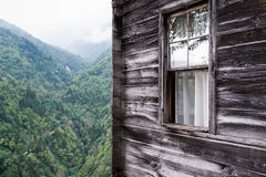 Wooden House with Mountain View. Beautiful wooden houses of Black Sea region in Turkey Royalty Free Stock Image