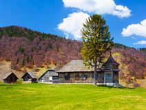 Wooden house and mountains Royalty Free Stock Image