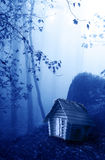 Wooden house and mysterious landscape of foggy forest Royalty Free Stock Image