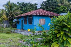 Wooden house in Nuevo Rocafuerte. Village, Ecuador stock photos