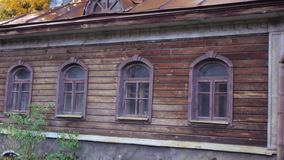 Wooden house of old Moscow stock video