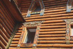 Wooden house. Ornament in the old style Stock Photos