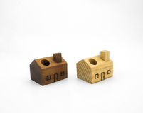 Wooden house pen holder toys Royalty Free Stock Image