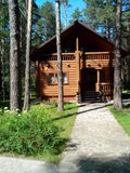 A wooden house in pine forest stock photos