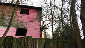 Wooden House in Playground and Trees Time Lapse. Video stock footage