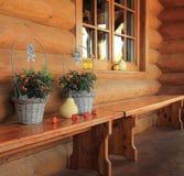Wooden house porch Stock Photos