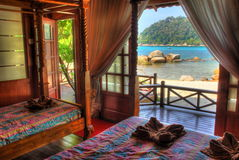 Wooden House Resort. Relax in an island of Tropical paradise. Located in Perhentian island of Malaysia. The resort is Coral View Island Resort Royalty Free Stock Photo
