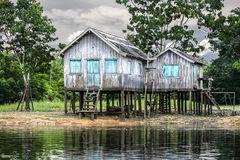 Wooden house on the river bank, Amazon River, Brazil. Royalty Free Stock Photo