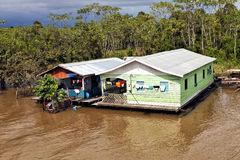 Wooden house on the river in Brazil Amazon Royalty Free Stock Images
