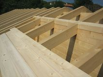 Wooden House Roof Construction Royalty Free Stock Image