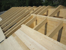 Wooden House Roof Construction Royalty Free Stock Photography