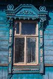 Wooden house in Russia. A fragment of decoration. Royalty Free Stock Photos