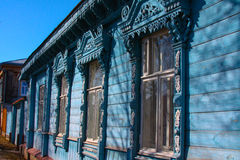 Wooden house in Russia. A fragment of decoration. Royalty Free Stock Photography