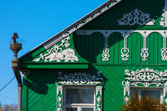 Wooden house in Russia. A fragment of decoration. Stock Photo