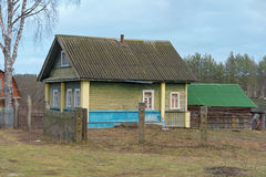 Wooden house in the Russian village Royalty Free Stock Images
