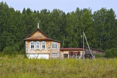 Wooden house in Russian village Royalty Free Stock Images