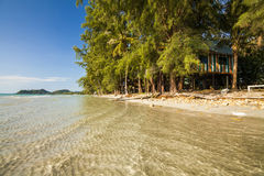 Wooden house on the sandy beach. Koh Chang. Stock Photos