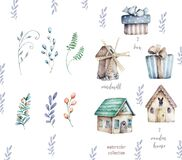 Wooden house and windmill Set of elements with floral and gift box for design. Watecolor cartoon illustration. Spring set