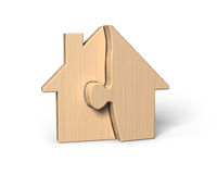 Wooden house shape puzzles Stock Photography
